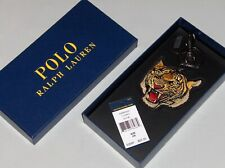 POLO RALPH LAUREN Embroidered Tiger Leather Key Fob Ring, Chain, Black, NEW, NIB