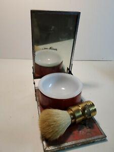 Vintage Antique Old Folding Metal Shaving Mirror Kit milkglass Soap Dish Brush