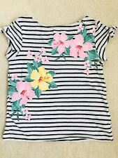 Girls Navy Striped Floral Short Sleeve Top Age 6-8 years from H&M