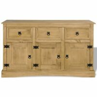 Rustic Bathroom Cabinet Wood Storage Kitchen Sideboard with 3 Doors Drawers