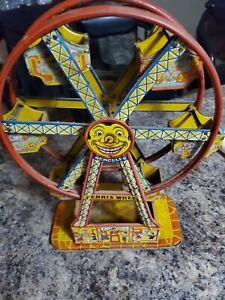Vintage 1950s J Chein Hercules Mechanical Ferris Wheel Tin Toy