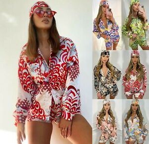 Womens 3 Piece Printed Shorts Bandana Set Ladies Beach Summer Fashion Co ord Set