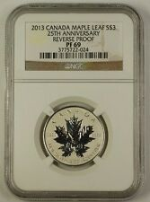 2013 Canada Maple Leaf Silver $3 Coin 25th Anniversary NGC PF-69 Reverse Proof