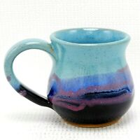 Coffee Mug Cup Studio Art Pottery Blues Black Pink Drip Glaze Ceramic 12 oz