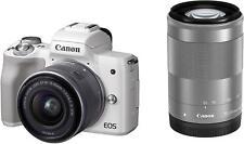 Canon EOS Kiss M Double Zoom Kit EOSKISSMWH-WZK White New