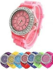 Classic Stylish Rubber Jelly Silicone Crystal Wrist Watch Men Women Gift