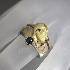 Extravaganter Ring mit Gesicht ca. 0,20ct Saphir in 750/18K Weiß-/Gelbgold