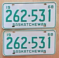 "SASKATCHEWAN CANADA 1968 AUTO LICENSE PLATE  PLATES MATCHING PAIR "" 262 531 "" SK"