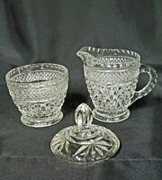 ANCHOR HOCKING WEXFORD FOOTED CREAMER & COVERED SUGAR BOWL