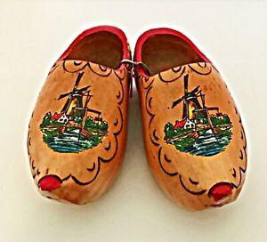 "Dutch Wooden Shoes Child's Size Vintage Windmill Scene 6.5"" Long"