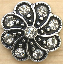 @` Snap Chunk Button Black Silver Clear Sets Charm For Ginger Snap Style Jewelry