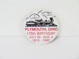 1990 Plymouth, Ohio 175th Birthday Pin - Vintage Pinback OH