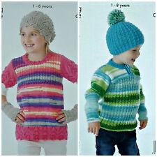 KNITTING PATTERN Childrens Tunic Hand Warmers Button Neck Jumper & Hats DK 4096