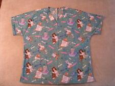 Women's Scrub Top Nurse Healthcare Pediatric Uniform, L or XL, dog  cat pattern