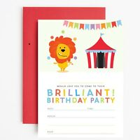 CIRCUS BIRTHDAY PARTY INVITATIONS INVITES CHILDRENS - Lion Circus Clown Party