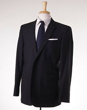 NWT $1495 BURBERRY LONDON Solid Black Wool Suit US 34 L (EU 44) Made in Italy