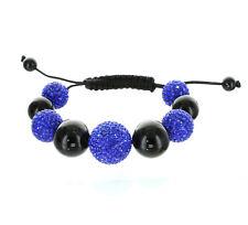 20mm Macrame Beaded Bracelet Pave Unisex Blue CZ Disco Ball Bead