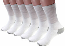 New 3-12 Pairs Mens White Solid Sports Crew Socks Cotton USA Long Size9-11 10-13