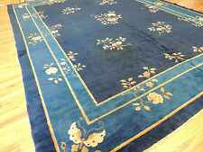 Antique Blue Art Deco Chinese Oriental Area Rug 9x12