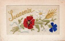 SOUVENIR: BATTLEFIELD FLOWERS AND WHEAT: WW1 EMBROIDERED PATRIOTIC SILK POSTCARD