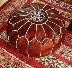 Moroccan leather pouf,40% OFF, Dark tan pouf, with white stitching leather Pouf