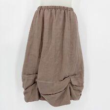 Chalet Womens 100% Linen Parachute Skirt Gathered Lagenlook Brown USA Made Sz XS