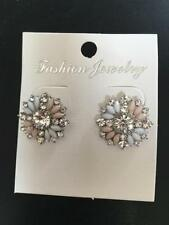 Rhinestone Screw Back (pierced) Round Costume Earrings