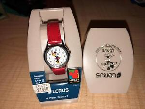 VINTAGE LORUS MICKEY UNLIMITED MINNIE MOUSE WATCH WITH RED BAND  <<NEW