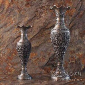 Craft Antique Flower Carved Vintage Home Metal Vase Pewter Color Tabletop Art