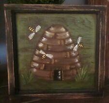 *~*Primitive*~* Hp Folk Art Prim Bees Skep *~* Bees *~* Sm. Door Panel