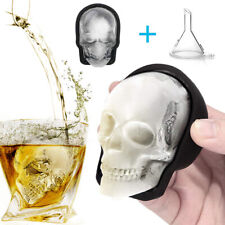 Large 3D Skull Silicone ICE Cube Tray Maker Mold For Whiskey Cocktails w/ Funnel