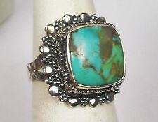 UNIQUE LARGE COPPER BLUE ARIZONA TURQUOISE AND HEARTS RING STERLING SILVER