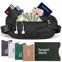 Money Belt travel bag secure waist zip Pouch RFID-Blocking Card/Passport Sleeves