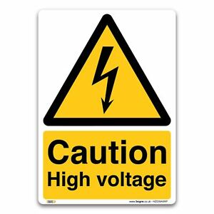 Caution High Voltage Sign - 1mm Rigid Plastic Sign - Warning Security