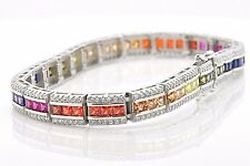 "Sterling Silver Triple Row Rainbow MultiColor Lab Sapphire Tennis 7.5"" Bracelet"