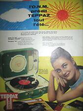 PUBLICITE DE PRESSE TEPPAZ TOURNE DISQUE MALLETTE ELECTROPHONE POUR L'éTé 1958