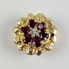 14K Yellow Gold R KLEIN KLJCI 6 Brilliant Ruby Diamond Nugget July Slide Charm