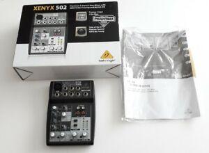 Behringer Xenyx 502 Mixer 5 Input 2 Bus Mic Preamp British EQ *No AC Adaptor*