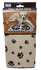 Feeding Mat Anti Skid Absorbent Microfiber Dog Food/Water Bowl, Beige 10x20''