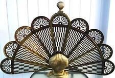 Vtg Art Deco Mcm Metal Brass Clam Shell Folding Peacock Fan Fireplace Screen Guc