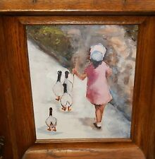 GIRL WITH GOOSE WALKING AFTER IVAN ANDERSON OIL ON BOARD PAINTING UNSIGNED