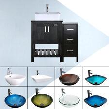 "36"" Bathroom Vanity Set Small Side Cabinet Vessel Sink W/ Mirror Faucet Combo"