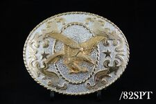 Texas Western Cowboy Eagle Belt Buckle Gold & Silver 2 Tones Color #82SPT