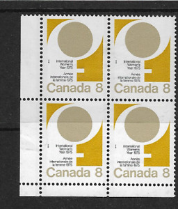 1975 CANADA - INTERNATIONAL WOMEN'S YEAR -  CORNER BLOCK OF FOUR - MNH.