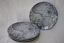222 Fifth Deep Sea World Map Round Appetizer Dessert Plates-Navy Blue/White -S/4