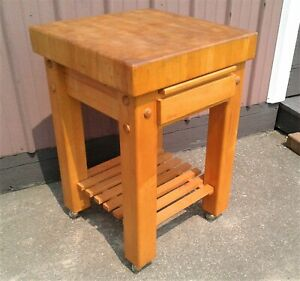 Vintage Le Gourmand Butcher Block Island w/ Cutting Board, Drawer and Casters