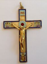 "ANTIQUE ""MASRIERA & CARRERAS"" 40.3 GR. SILVER & ENAMELED 100 mm. CROSS PENDANT"