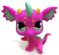 Hasbro LPS Littlest Pet Shop SPARKLE PINK GREEN DRAGON Rare Toy #2663 XN