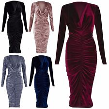 Women's Ladies Cowl Neck Crushed Velour Velvet Long Front Ruched Midi Dress