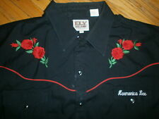 EMBROIDERED ROSES WESTERN SHIRT Pearl Snap HARMONICA LEE Red Piping ELY 2XL XXL